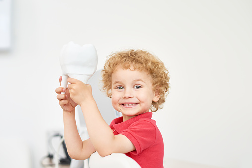 Little boy holding a large pretend tooth and smiling